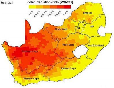 Napromieniowanie słoneczne rocznie (kWh/m2) w RPA. Źródło: solarhomes.co.za