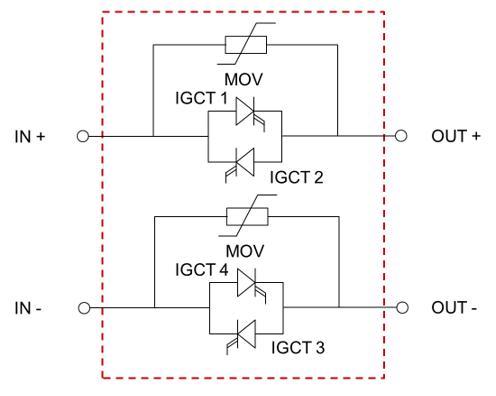 Fig 2. - Two-pole RB-IGCT-based bidirectional SSCB circuit topology