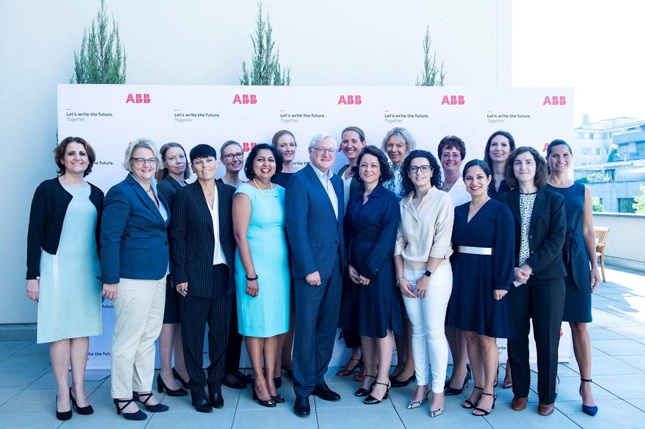 The ABB delegation with Chairman and CEO Peter Voser, General Counsel and Company Secretary Diane de Saint Victor (at left), and Chief Human Resources Officer Sylvia Hill (second from left)