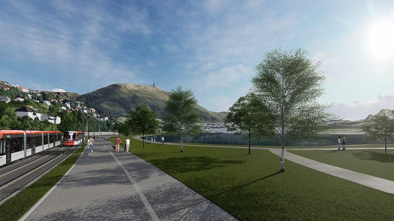 Bybanen i Bergen ekspanderer og ABB og Thunestvedt leverer kjørestrømløsningen (Ill. Bybanen)