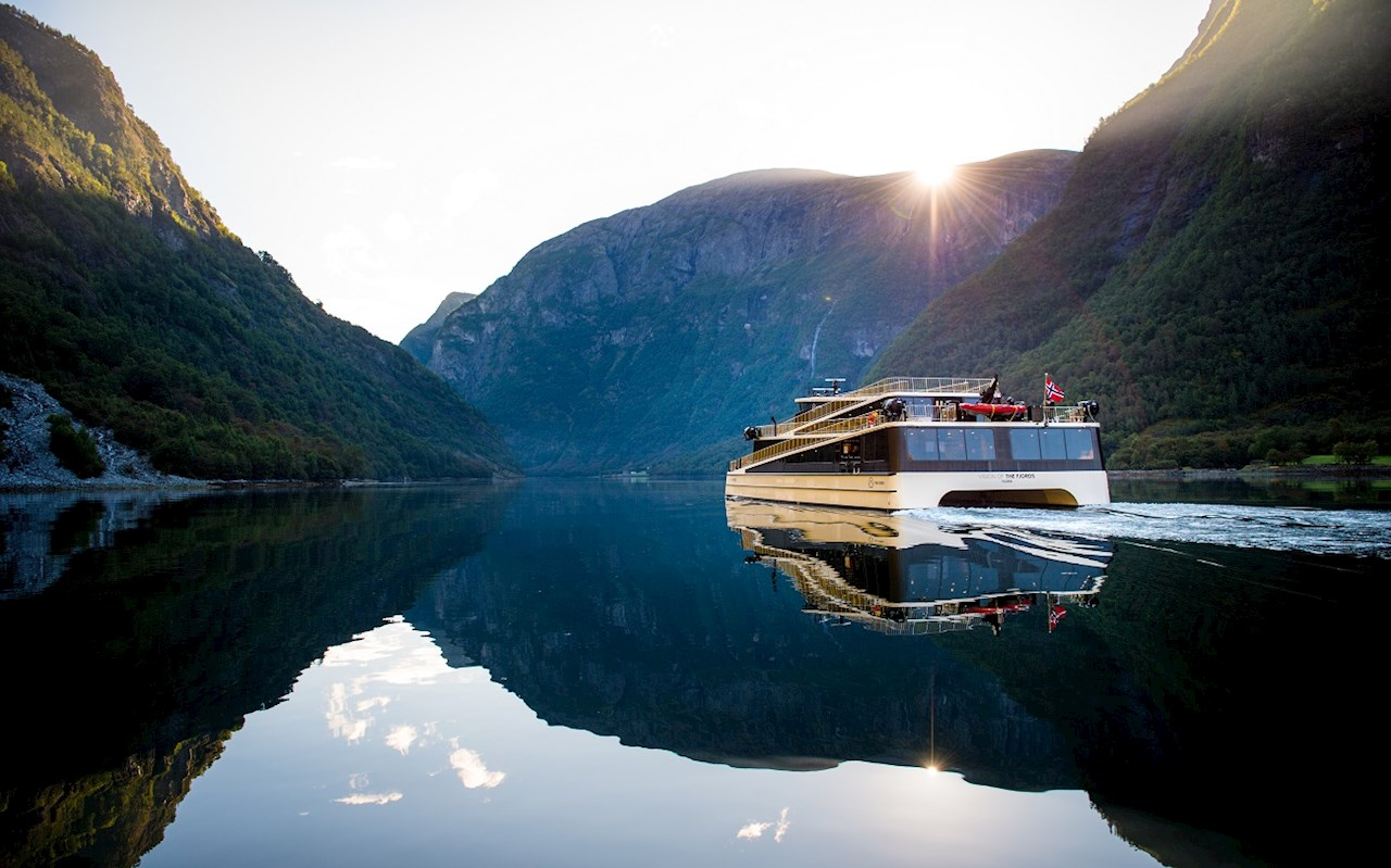A futuristic hybrid ferry on Norwegian fjords