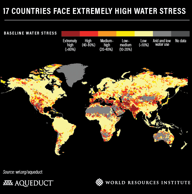Source : Site Web du WRI (https://www.wri.org/blog/2019/08/17-countries-home-one-quarter-world-population-face-extremely-high-water-stress)