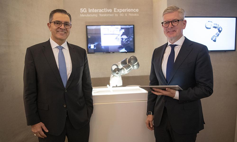 Sami Atiya, leder for Robotics and Discrete Automation i ABB og Börje Ekholm, konsernsjef i Ericsson.
