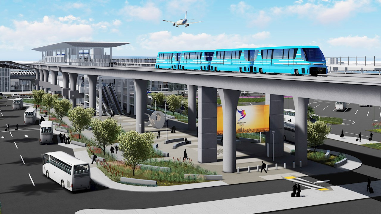 LAX Automated People Mover with ABB Enviline ESS Energy Storage technology (image courtesy of lawa.org)