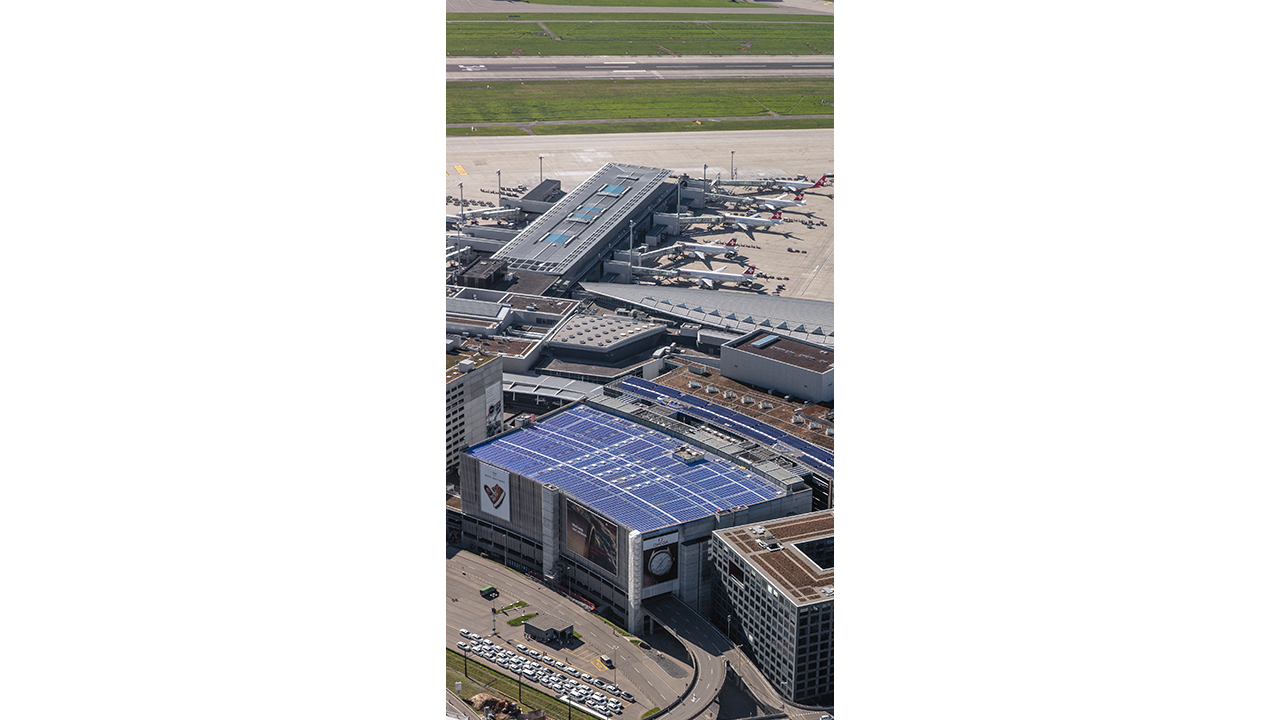 05 The energy sources in a Virtual Power Plant consist of almost any power generating technology, including biogas, biomass, combined heat and power (CHP), micro CHP, wind, solar, hydro, power- to-heat, diesel engines and fossil fuel. The photo shows Zurichairport. Photo: Ralph Bensberg