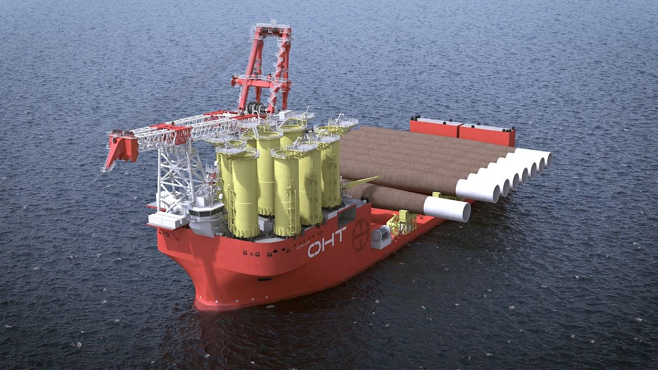 Offshore Heavy Transports Alfa Lift får hovedkran på 3000 tonn og 10 000 kvadratmeter «smartdekk» som kan ta 16 ekstra store mono-fundamenter eller ti understell på hver reise (kun for illustrasjon, fra OHT).