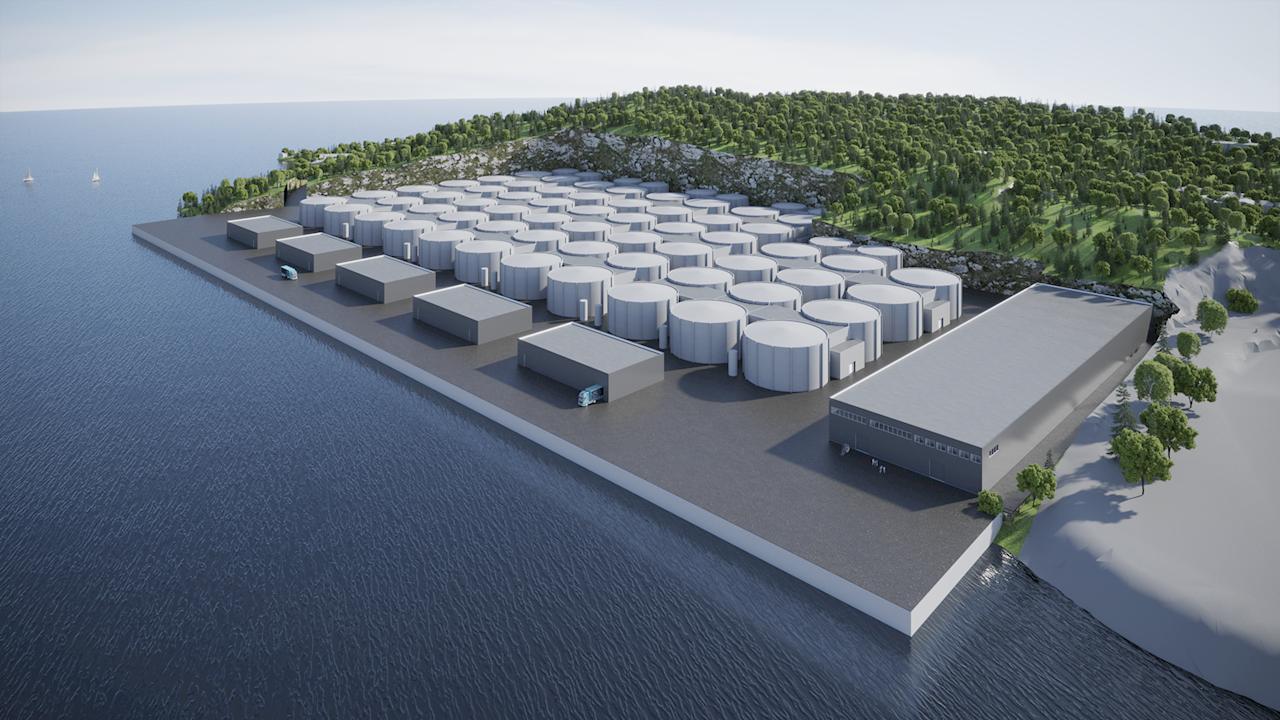 Et av Europas største, landbaserte oppdrettsanlegg designes ved hjelp av digitale tvillinger og simulering som gir inntil 10 prosent reduksjon i driftskostnader (Ill. Salfjord).