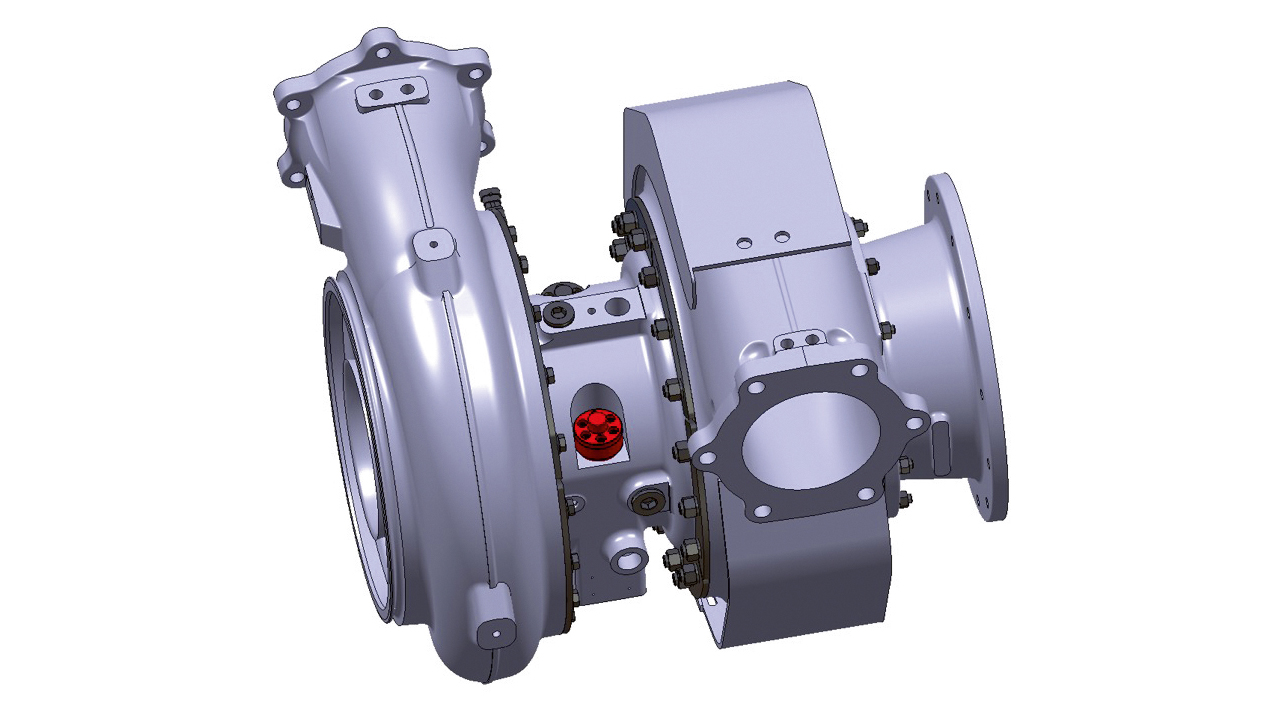 07 A240-H turbocharger with clamping nuts.