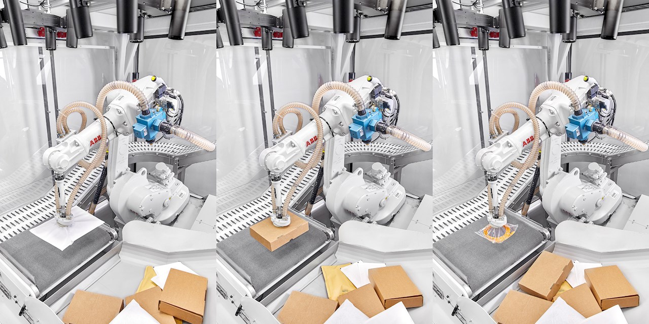 ABB robots sorting different packages with Coviarant AI