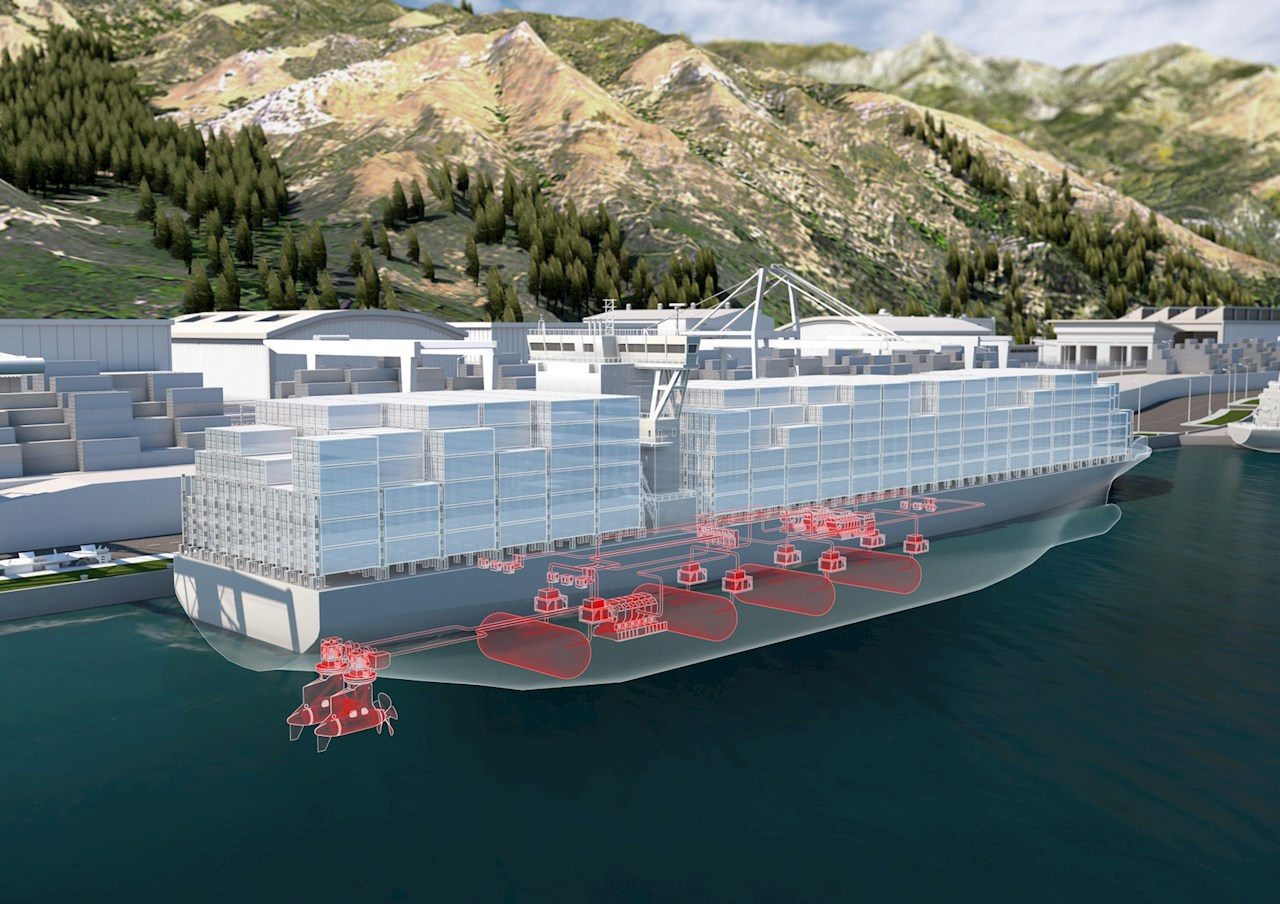 Concept illustration of a large vessel powered by fuel cells