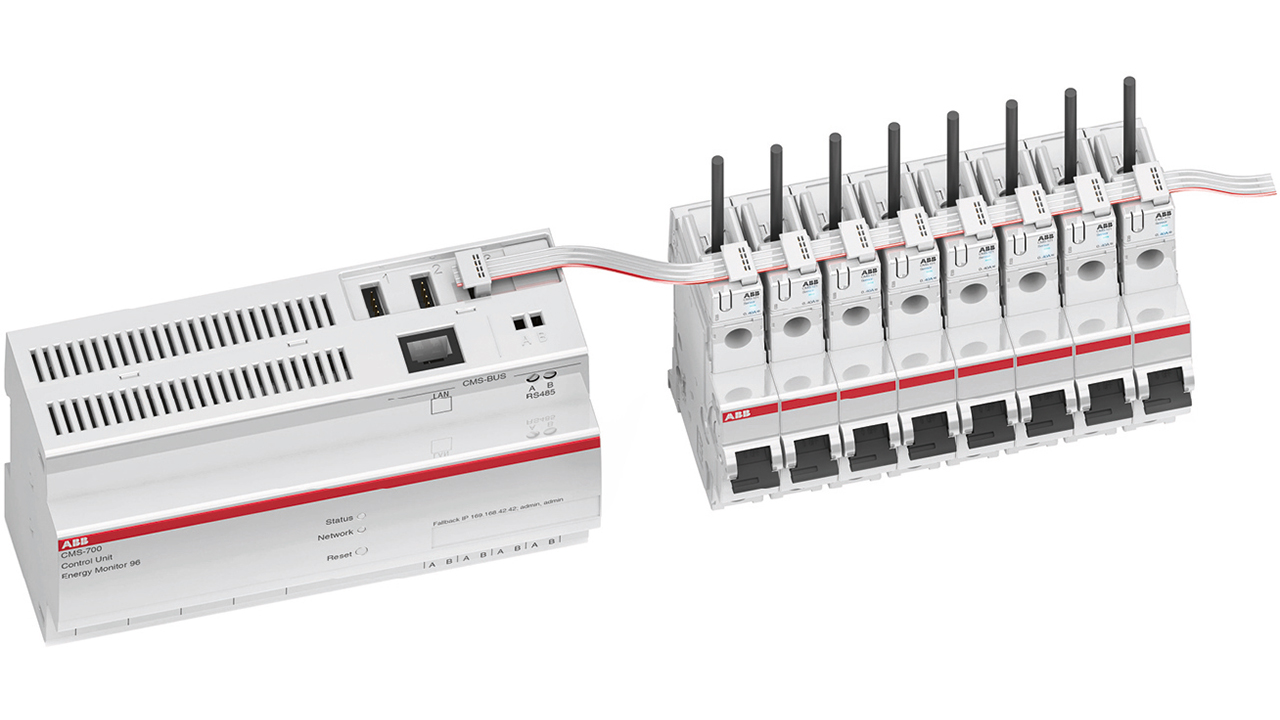 01 The ABB CMS-700 control unit, which aggregates current readings from the CMS and power quality values to create consumption data and generate any required alarms. Shown with associated sensors to the right.
