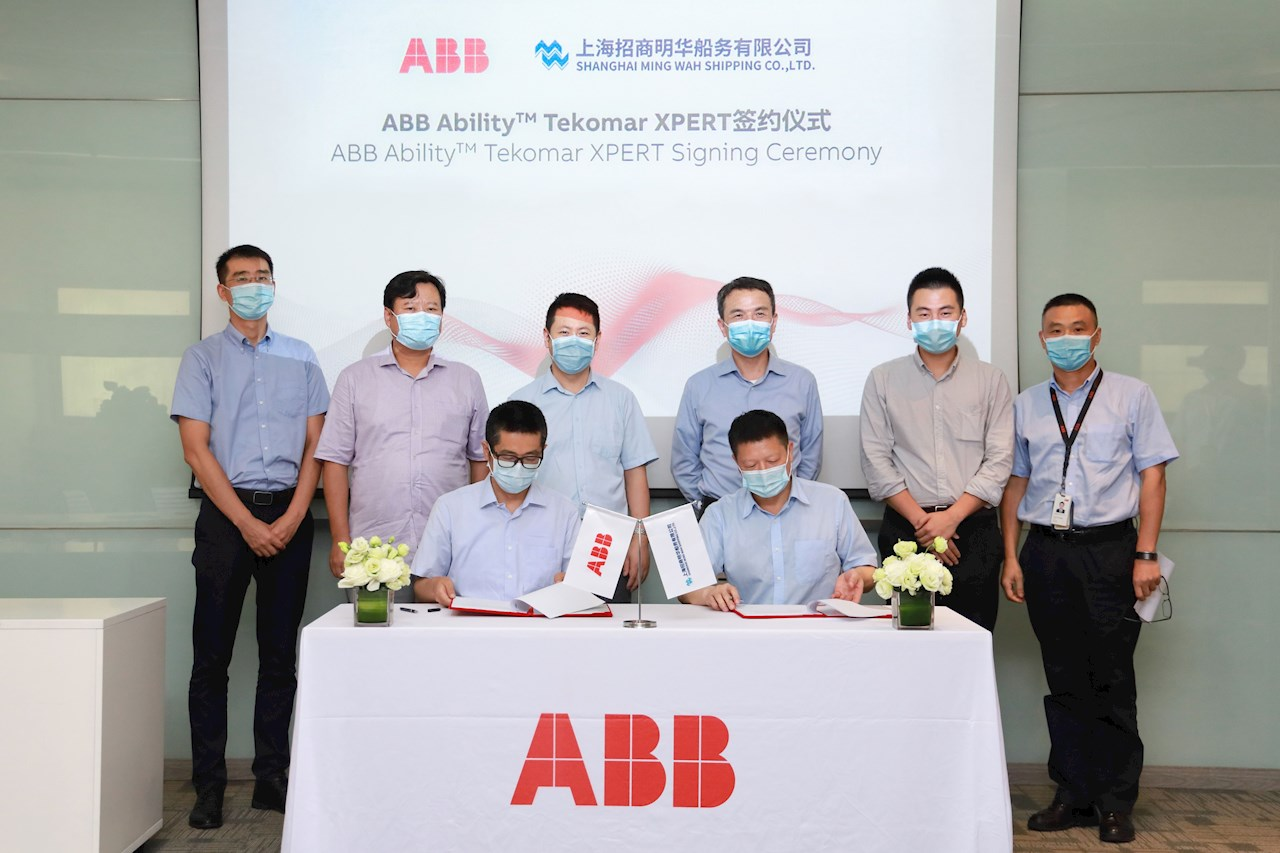 ABB Turbocharging and Shanghai Ming Wah Shipping Co sign the order to install ABB Ability™ Tekomar XPERT across the ship owner's fleet.