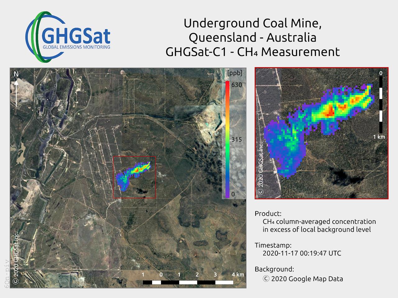 Die gewerblichen GHGSat-Satelliten erfassen zusammen mit den optischen Messwertaufnehmern von ABB Methanfahnen in der Atmosphäre bis zu 25 m über dem Boden.