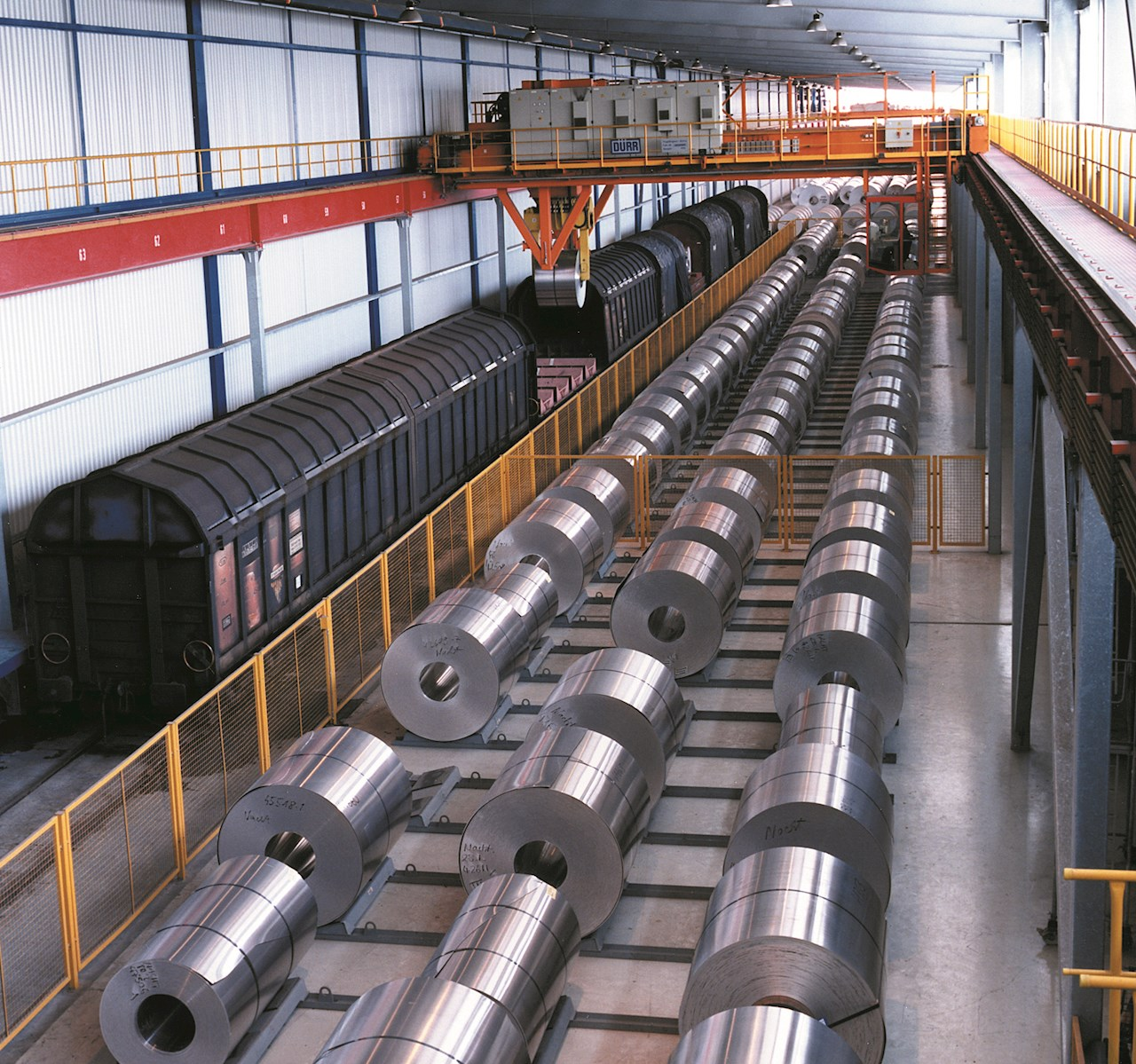 Processed steel coils ready for distribution