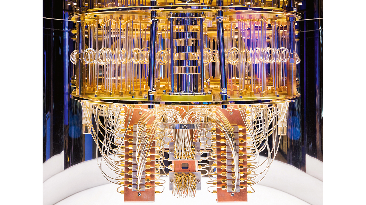 04 Interior of IBM quantum computing system. The quantum chip is located in the small dark square at center bottom.