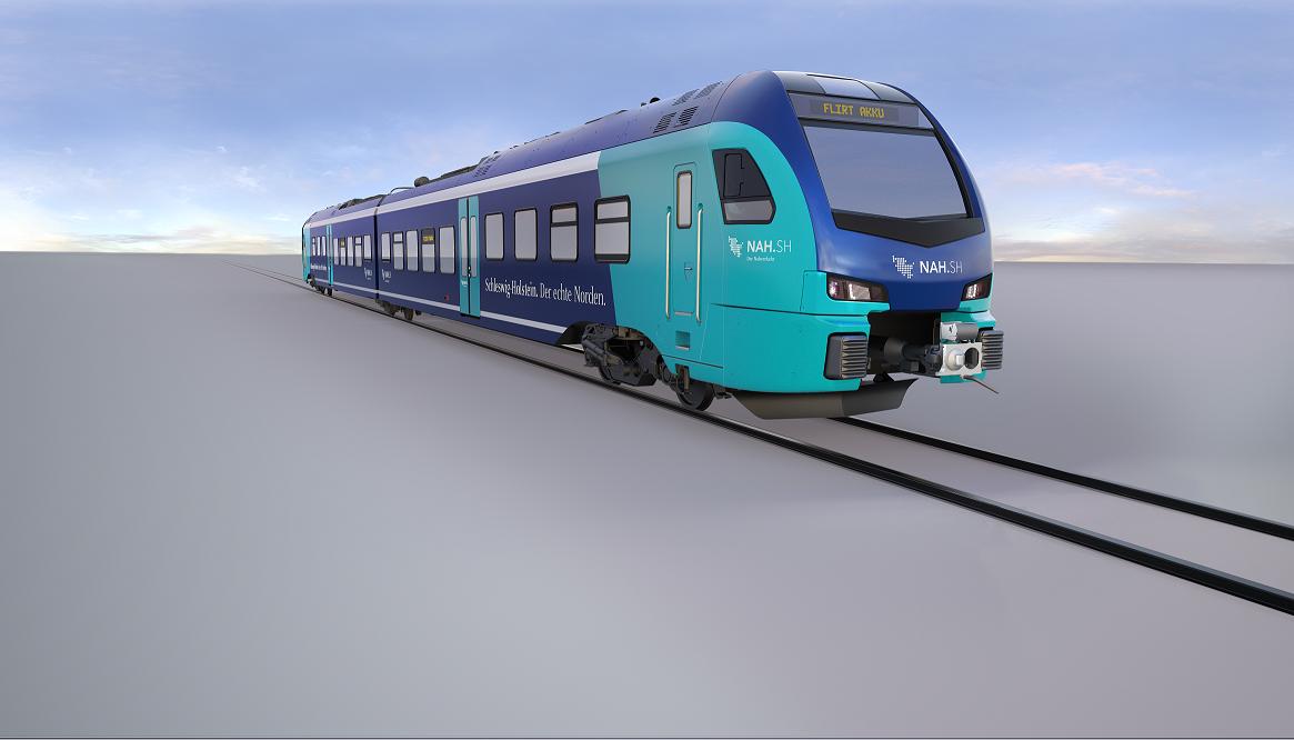 55 neue Batterie-Elektrotriebzügen (BEMU) des Nahverkehrsverbundes Schleswig-Holstein (NAH.SH) werden mit Traktionsumrichter und Energiespeichersysteme auf Basis von Lithium-Ionen-Batteriezellen von ABB ausgestattet sein. Bild Quelle: Stadler