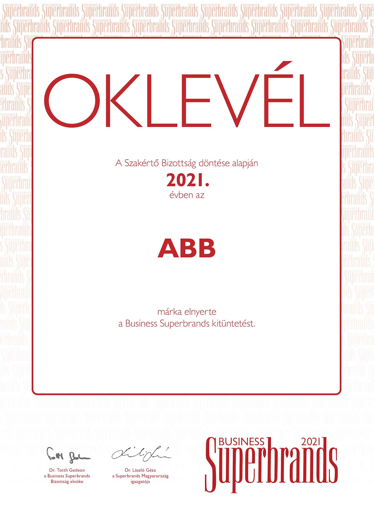 Hétszeres Business Superbrands díjas az ABB