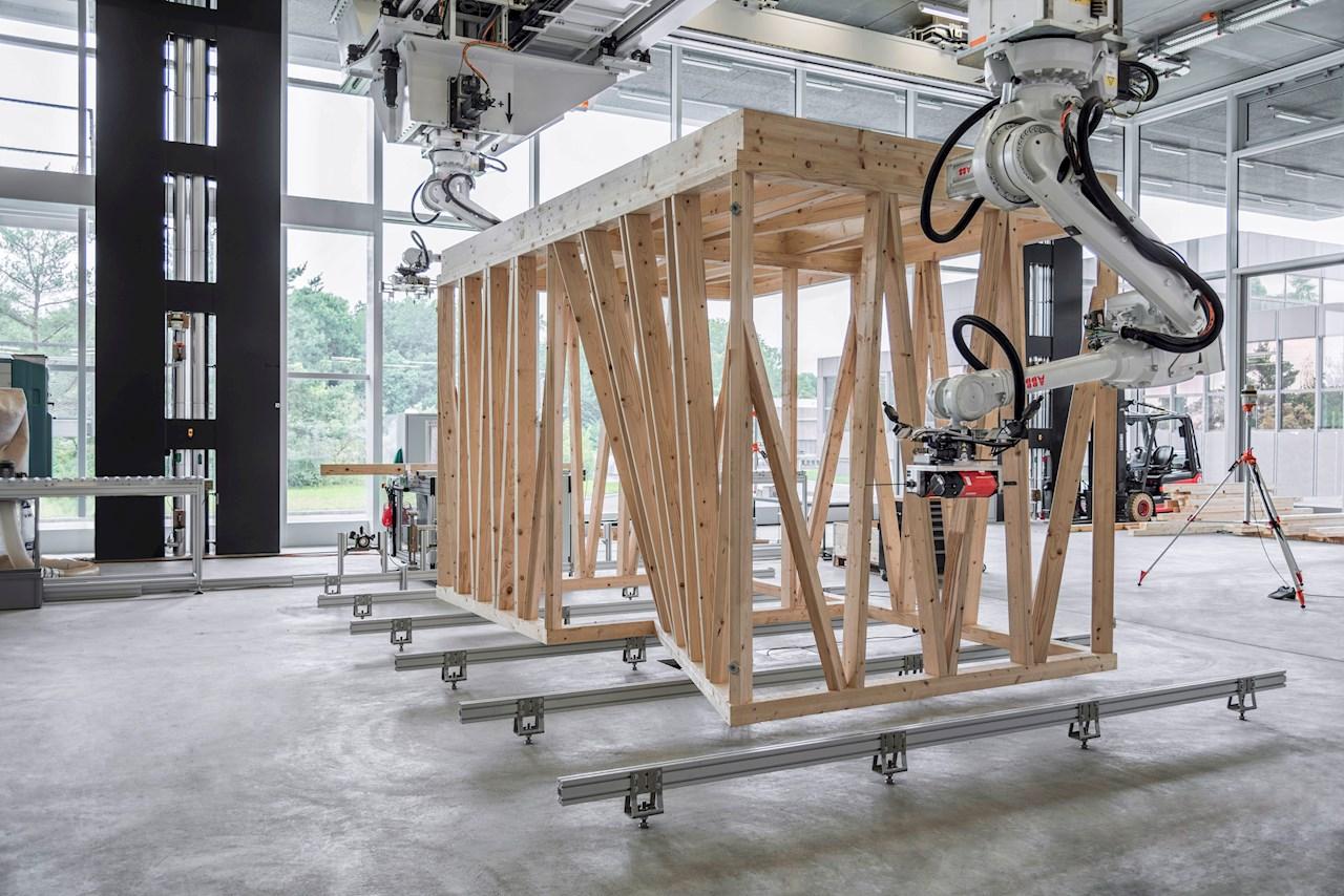 ABB-Roboter im ETH-Labor für kollaborative robotergestützte digitale Fertigung.