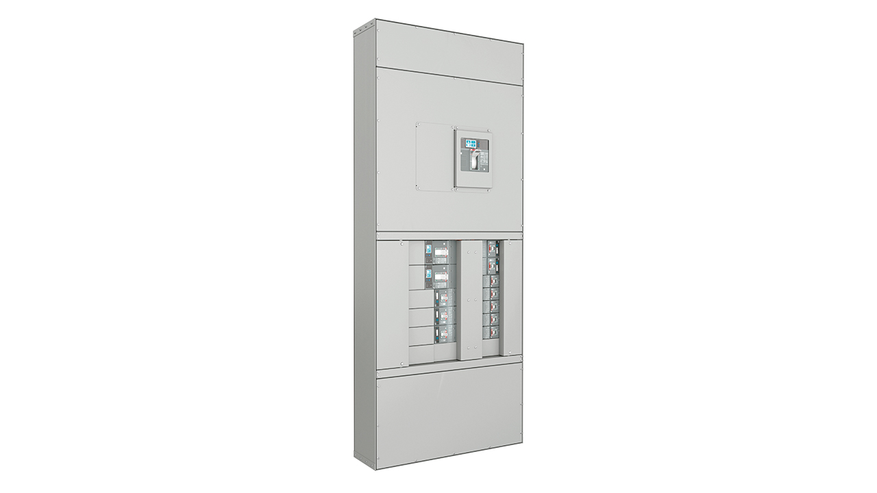 01 ABB's ReliaGear plug-in design simplifies installation work in which electrical connections are made. Shown is the ReliaGear neXT front panel, in the closed position.