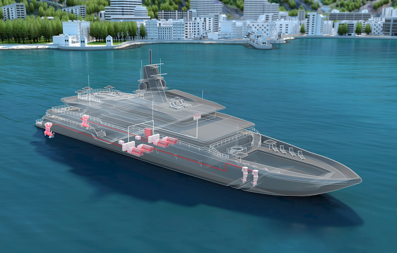 Superyacht powered by an integrated electric propulsion system.