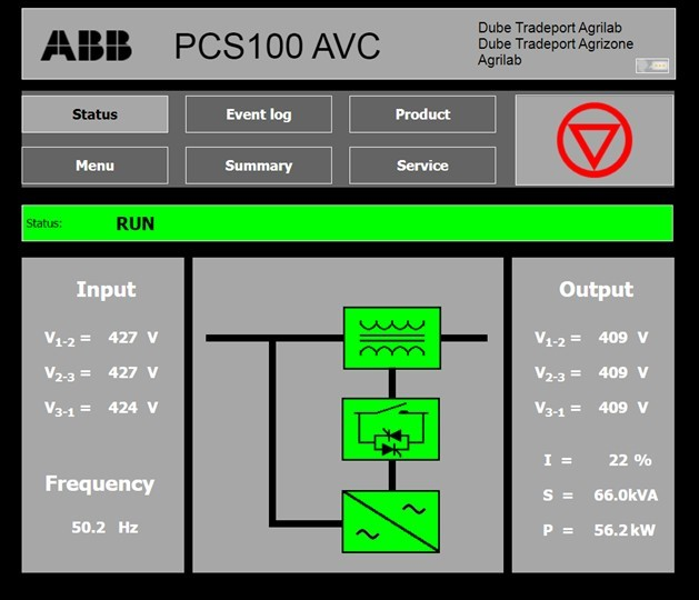 The PCS100 AVC-40 status page, showing the conditioned voltage on the right-hand side. The voltage limit is set to 409 V for this particular client's site requirements.