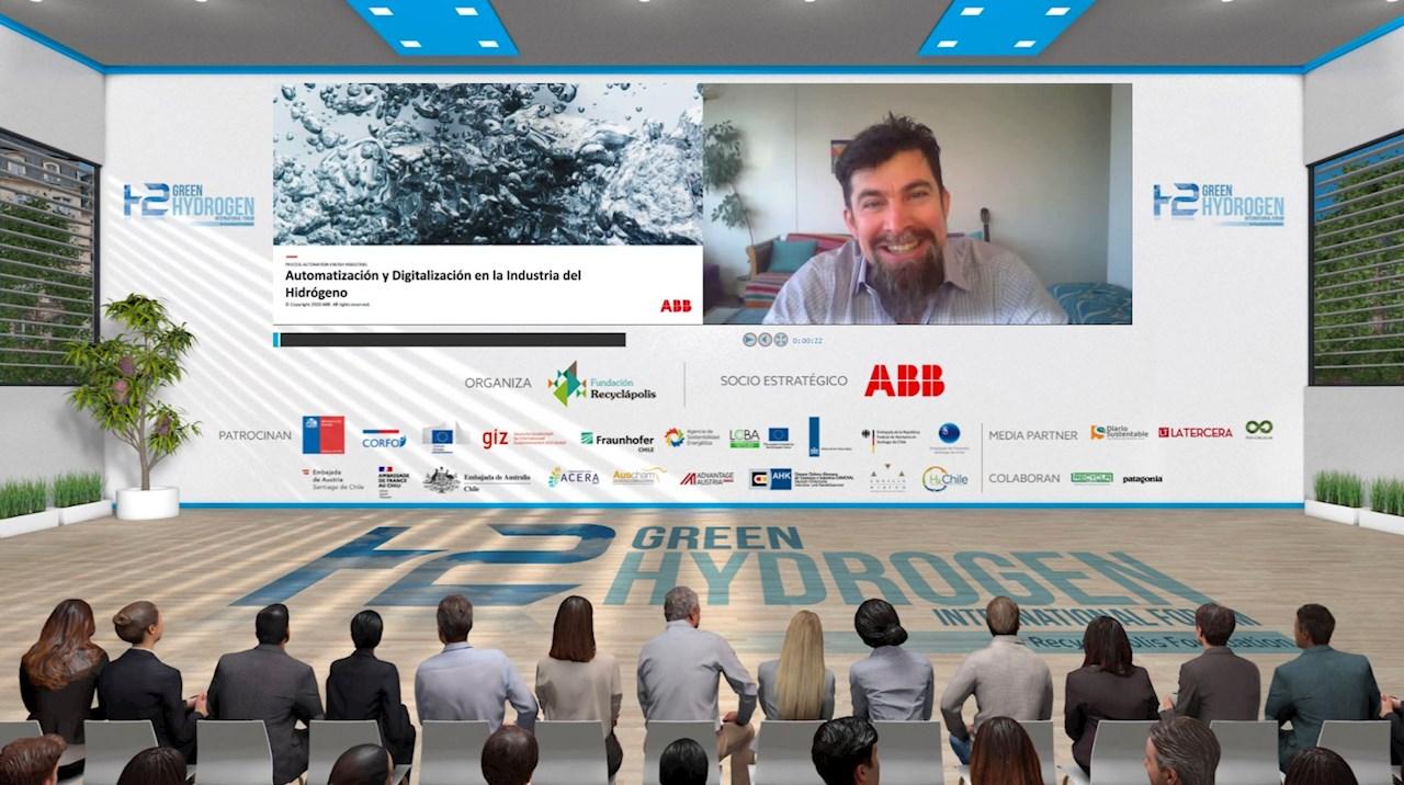 Daniel Andrade, especialista ABB en Foro Internacional de Hidrógeno Verde 2021, organizado por Fundación Recyclápolis
