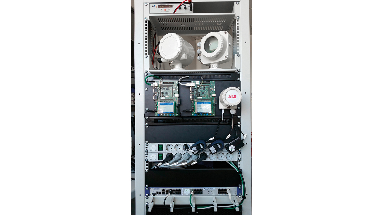 04 Ethernet prototypes (lowermost) enabling ABB Coriolis mass flowmeters (topmost) to communicate via OPC UA.