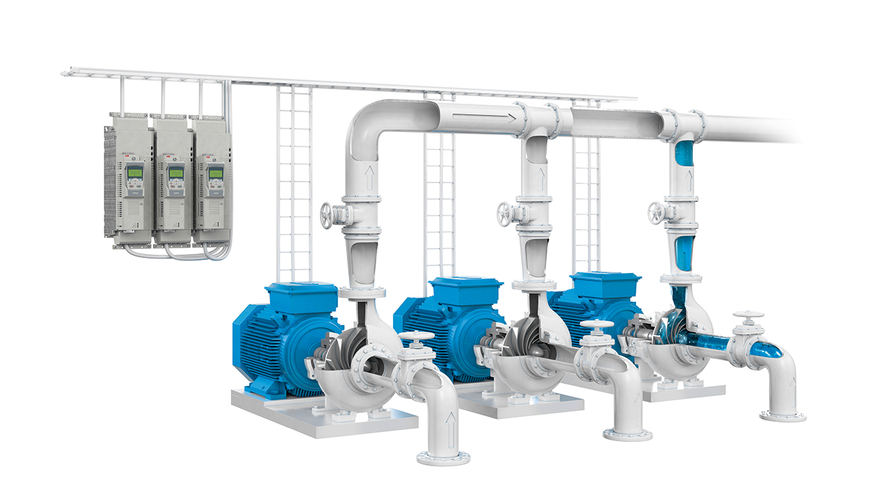 01 ABB's new IE5 SynRMs are ideal for applications such as water pumping.