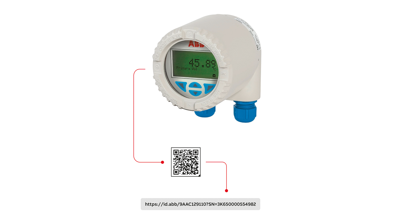 02 Example of an AutoID weblink encoded as a QR code for a temperature transmitter.