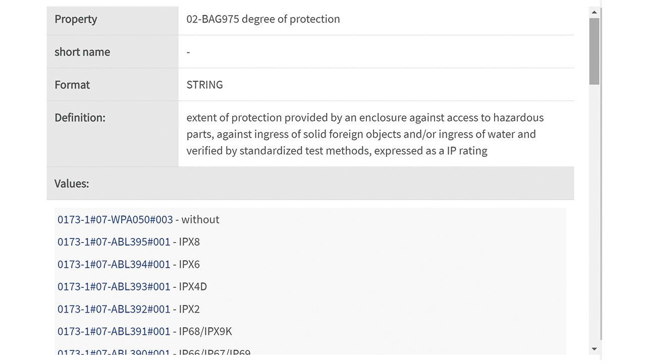 03 An example of the ingress protection code (IP code) property defined in ECLASS along with an excerpt of allowed values (source: [1]).