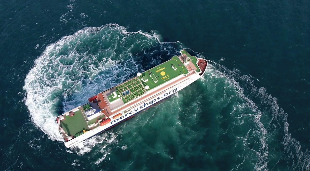 Hospitalsskibet Global Mercy har ekstrem høj manøvrerbarhed som betyder at hun kan komme ind i svært tilgængelige havne Foto: Tianjin Xingang Shipyard
