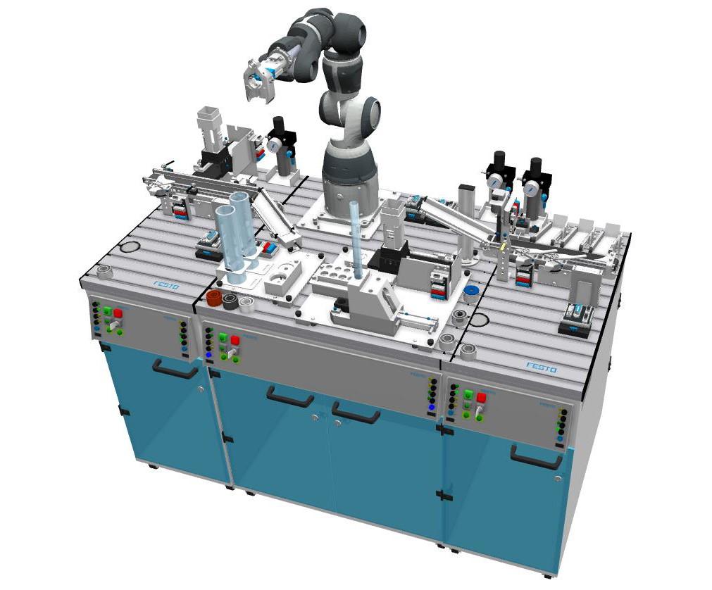 Jakeluasema syöttää sylinteriputkia yksi kerrallaan robottiasemalle. Robotti valmistaa erilaisia kokoonpanoja – toivotun tuotteen ja ohjelmoinnin mukaan - ja siirtää valmiin tuotteen eteenpäin lajitteluasemalle.